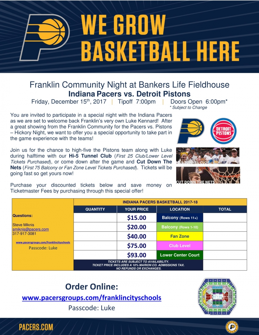 Franklin Night at the Pacers Game