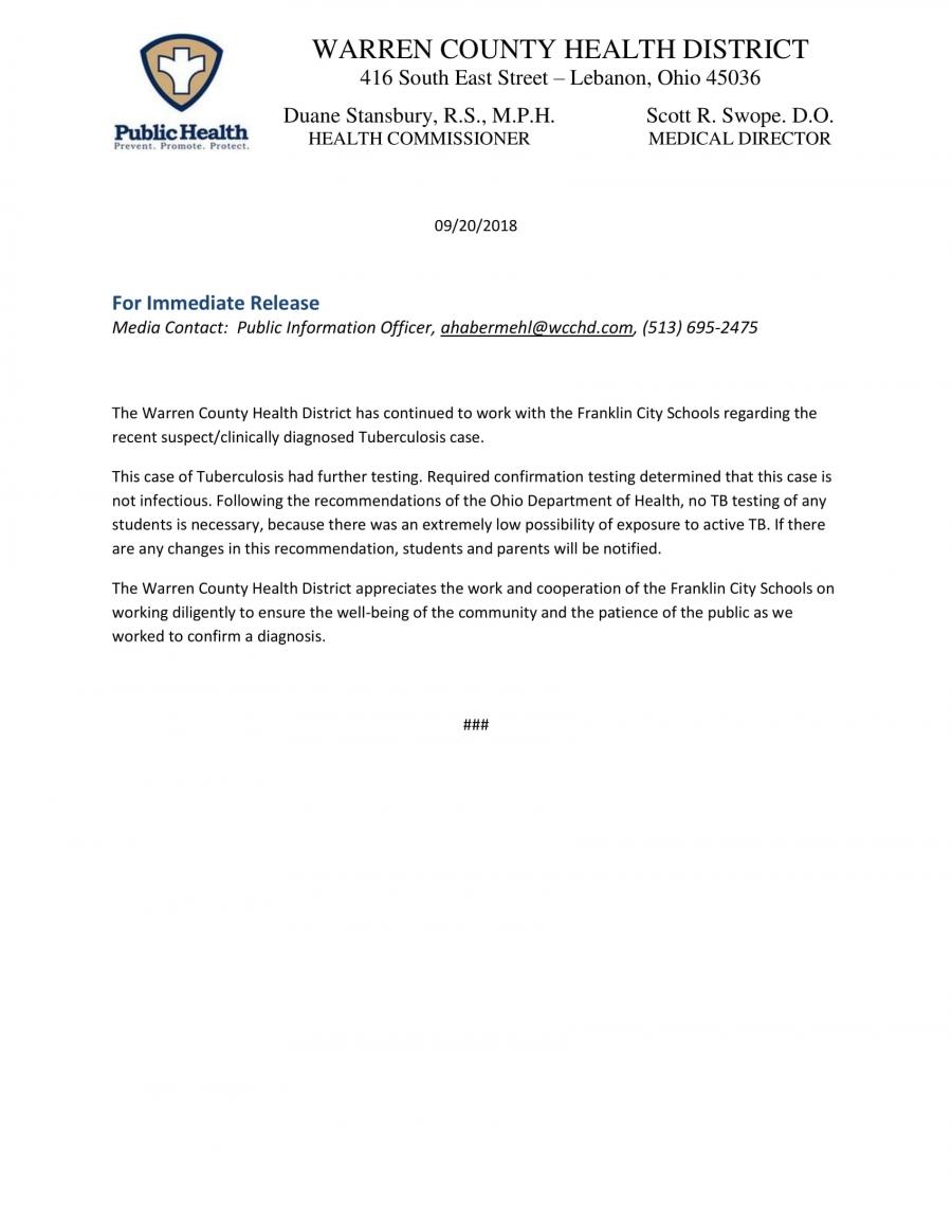Warren County Health District Release